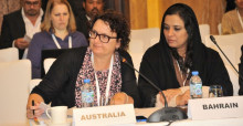 Fiona Bartlett (left) representing Australia at the 3rd Meeting of Signatory States of the Dugong MOU, Abu Dhabi, 13-14 March 2017.