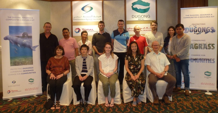 Back row L-R: Nicolas Pilcher, Himansu Das, Donna Kwan, Christophe Cleguer, Len McKenzie, Paul Cooper, Benjamin Jones, Maya Bankova-Todorova, Wint The.  Front row: Helene Marsh, Connie Chiang, Samantha Matthews, Tara Whitty, Simon Woodley. Photo: Dugong MOU Secretariat.