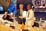 Sri Lanka is now a Signatory to the Sharks MOU - Hon. Mr. Gamini Jayawickrama Perera, Minister of Sustainable Development and Wildlife, signed the Memorandum © Aydin Bahramlouian