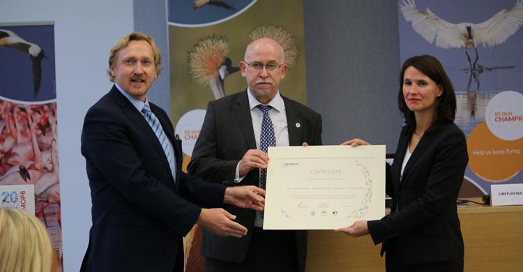 Le gouvernement allemand reçoit le prix de Champion des espèces migratrices © IISD