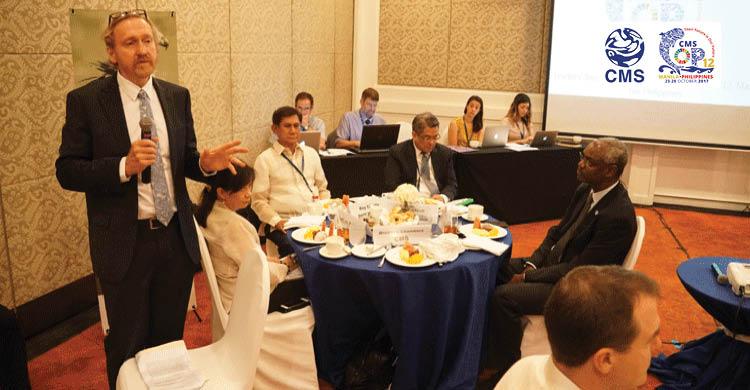 Dr. Bradnee Chambers, CMS Executive Secretary speaking during the leader's breakfast © Aydin Bahramlouian