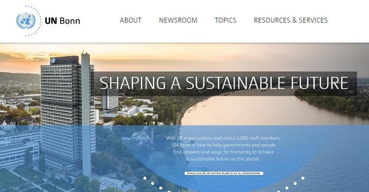 UN Bonn new website screenshot