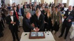 Bradnee Chambers, Executive Secretary of UNEP/CMS (R) and Reinhard Limbach, Bonn's Bürgermeister (Mayor) (L) cutting the cake to commemorate twenty years of UN presence in the city.