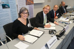 From left to right: Sigrid Lüber (OceanCare President), Bradnee Chambers (Executive Secretary of CMS) and Øystein Størkersen (Chair of CMS Standing Committee) and Bert Lenten (Deputy Executive Secretary of CMS)  during the CMS-OceanCare partnership signature ceremony in Bonn, Germany © Aydin Bahramlouian