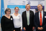 From left to right: Sigrid Lüber (OceanCare President), Heidrun Frisch-Nwakanma (ASCOBANS Coordinator) Bradnee Chambers (Executive Secretary of CMS) and  Øystein Størkersen (Chair of CMS Standing Committee) during the partnership signature ceremony in Bonn, Germany © Aydin Bahramlouian