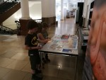 Kids interested in World Migratory Bird Day materials before the film screening at the Museum Alexander Koenig