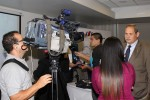 Sharks MOS2 - Luis Felipe Arauz, Minister of Agriculture, Costa Rica being intervieced by journalists © IISD
